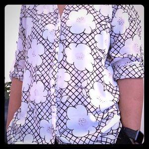 Express slim fit floral no pocket portofino shirt